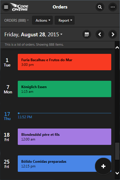 Agenda mode of Calendar view style is a perfect To-Do list for end users of apps created with Code On Time.
