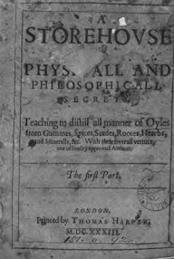 Cover of Paracelsus's Book A Storehouse Of Physical And Philosophical Secrets