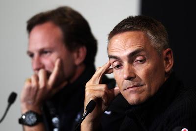 Кристиан Хорнер и Мартин Уитмарш на пресс-конференции в Валенсии на Гран-при Европы 2011