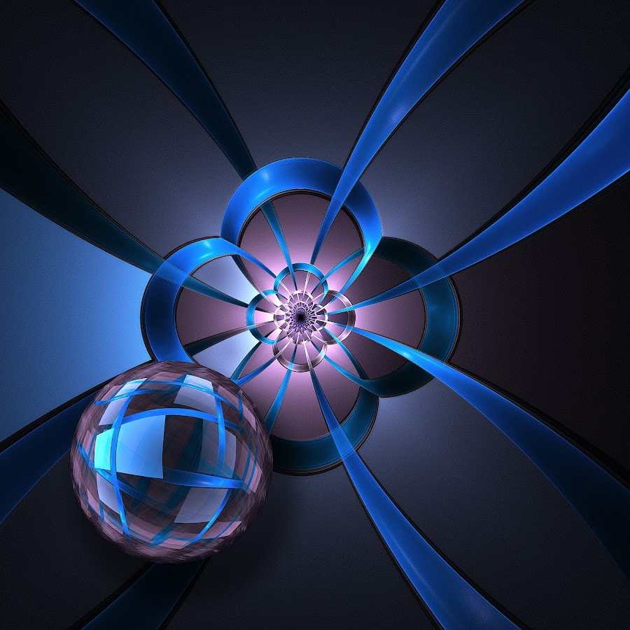 Portal with Blue Glass Ball by Pam Blackstone - Illustration Abstract & Patterns ( apo, ball, apophysis, blue, ribbons, sphere, fractal, flame )
