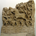 Le Grand Départ. Andhra Pradesh, région d'Amaravati. Ecole d'Amaravati, 2e s. Plaque de revêtement de stupa, calcaire marmoréen. MG 18509.