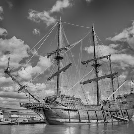 El Galeón Andalucía by Debbie Quick - Black & White Objects & Still Life ( sailboat, newburgh, replica, outdoor photography, boat photography, clouds, float, floating, 18th century ship, wood, antique, sails, hudson river, 18th century, new york, water, boat, outdoor magazine, transportation, pirate boat, outdoors, wooden, el galeón andalucía, hudson valley, docked )