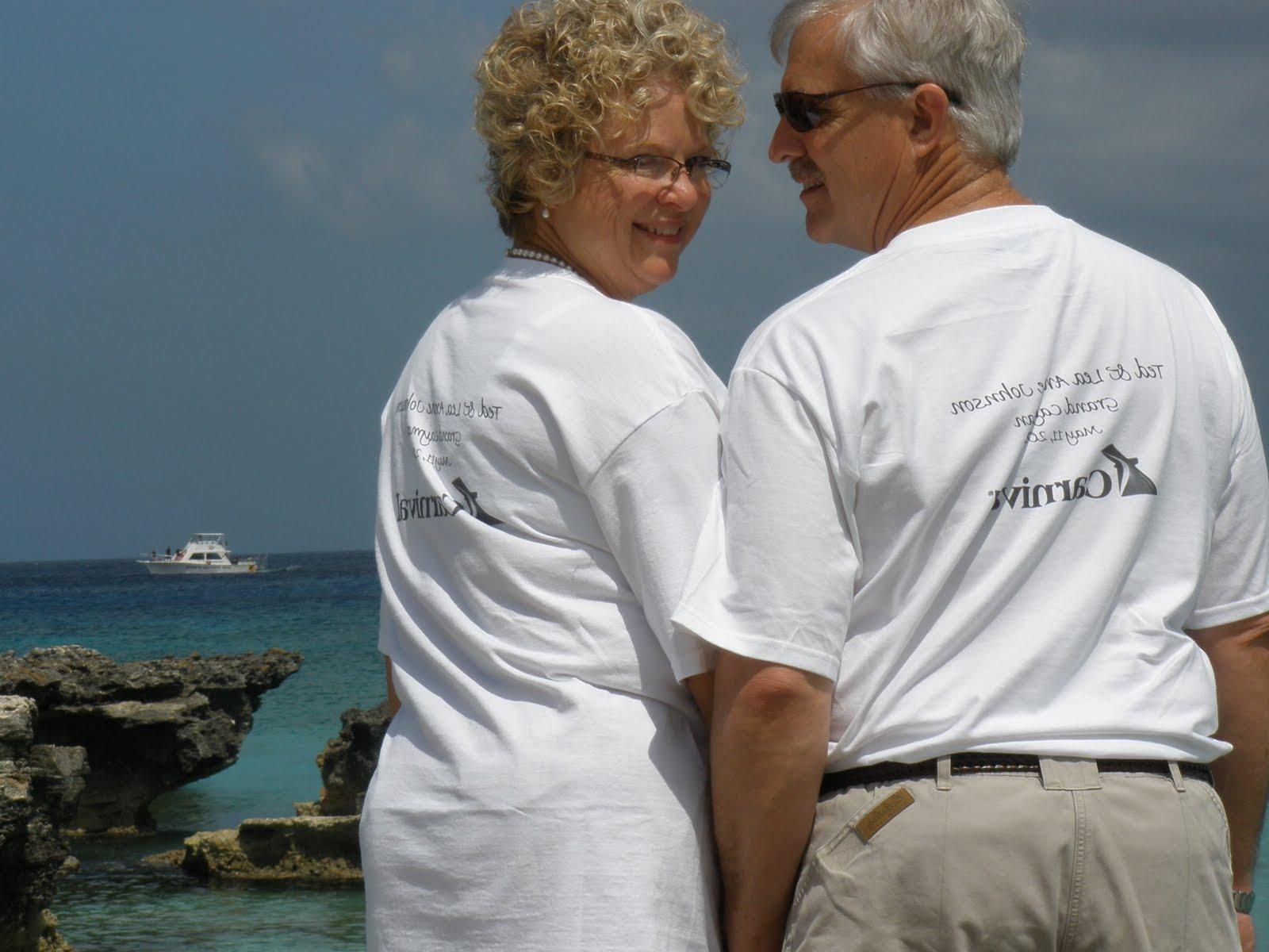 The backs of the shirts had their names, date of marriage, Cayman Islands
