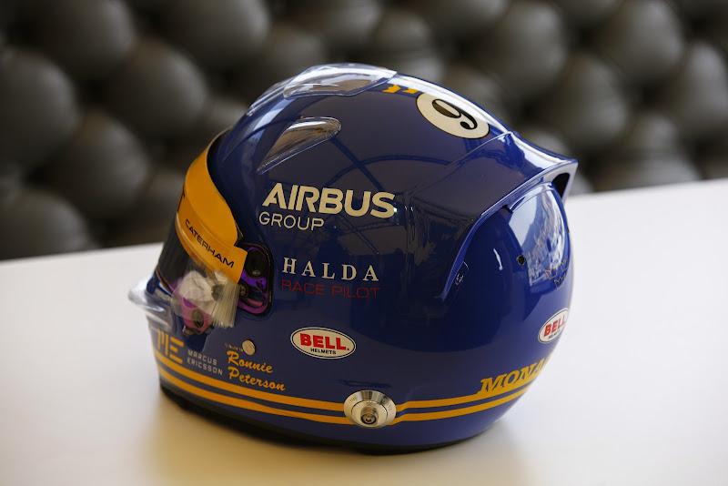 трибьют шлем Маркуса Эрикссона в честь Ронни Петерсона для Гран-при Монако 2014