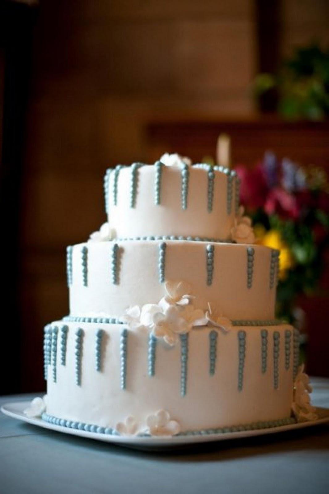 Blue & White Wedding Cake