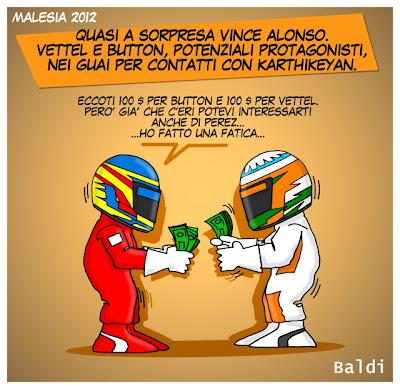 Фернандо Алонсо рассчитывается с Нараином Картикеяном после гонки на Гран-при Малайзии 2012 - комикс Baldi