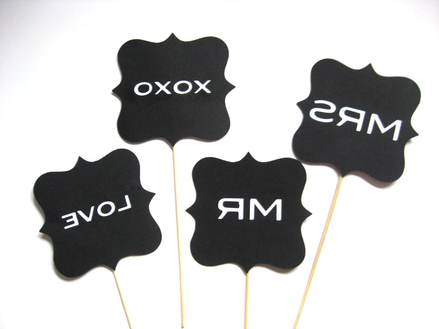 Photo Props - Wedding Signs - 4 piece set - Photo Booth Props