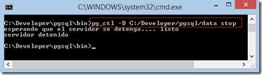 pgsql detener servidor