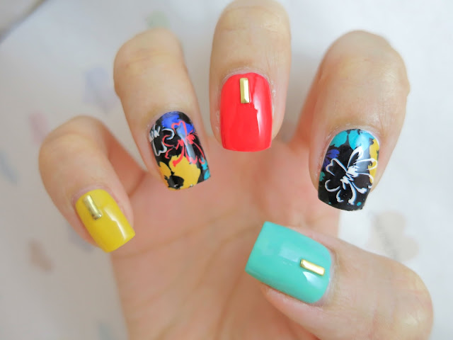 Colorful Floral Print Nail Art Water Decal BP-W05
