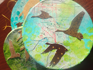 art ornaments, geese, Moraine State Park, map art,