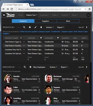 An example of a data page in line-of-business app created with Code On Time.