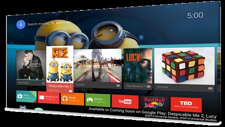 Android TV käyttöliittymä (c) Google 2015