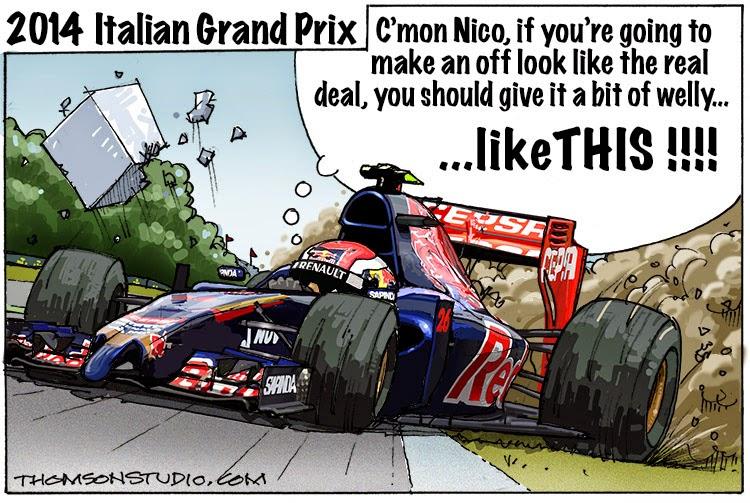 занос Даниила Квята на Toro Rosso в Монце - комикс Bruce Thomson по Гран-при Италии 2014