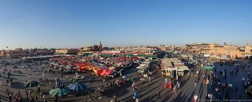 Jamaa el Fna Square Marrakech from above panoramic