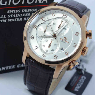 jam tangan Giotona GT7329 brown leather rosegold white