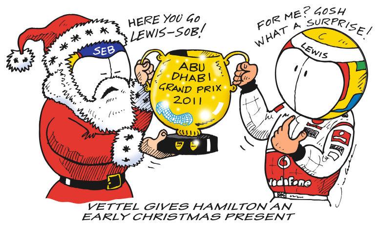 комиксы Jim Bamber про Себастьяна Феттеля и Льюиса Хэмилтона по Гран-при Абу-Даби 2011