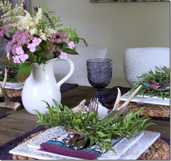White dishes and purple colored placemats for a summer tablescape