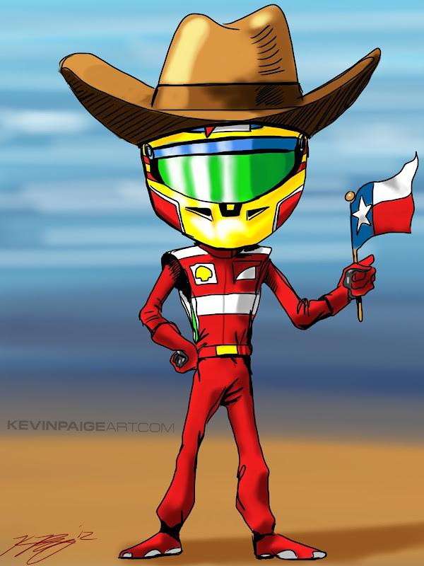 Фернандо Алонсо в шляпе и с флагом Техаса - карикатура Kevin Paige Art перед Гран-при США 2012