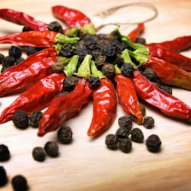Chili and pepper by Sinisa Botas - Food & Drink Ingredients ( raw, nobody, cayenne, cuisine, spice, capsicum, pepper, seasoning, paprika, dried, fresh, ingredient, cooking, dry, mexican, spicy, flavor, kitchen, chili, organic, red, food, ripe, hot, healthy, vegetable )