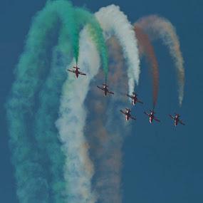 Plunge by Ajay Sood - Transportation Airplanes ( flight, flying, aero show, flag, aeroplane, aircraft, photo images from india, travelure, stunt, colours, suryakiran )