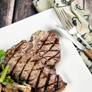 Grilled T-bone Steaks With Asparagus And Mushroom Stir-Fry