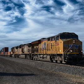 Eastbound and down by Ryan Trullinger - Transportation Trains ( clouds, sky, railroad, train, springtime )