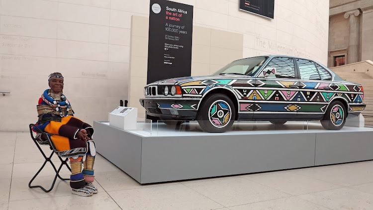 Esther Mahlangu with her BMW artcar at the British Museum 2016