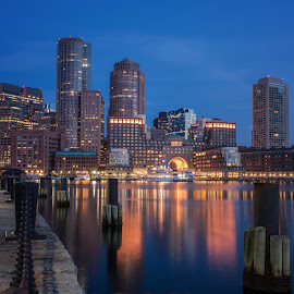 Boston Mass by Paul Gibson - City,  Street & Park  Skylines ( water, skyline, boston, blue hour, reflections, long exposure )