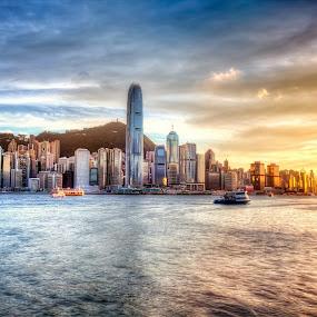 Wonderful Evening by Gema Goeyardi - Landscapes Sunsets & Sunrises ( hong kong, avenue of star )