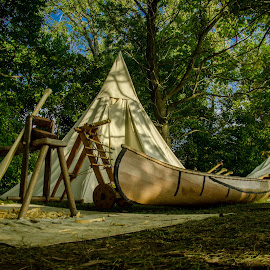 The Canoe Maker's Camp by Florin Marksteiner - Artistic Objects Antiques ( vintage, tecumseh, canoe maker, tribal confederacy, war of 1812, united states, united kingdom, american army, first nations, history, camp, thames, camping, moraviantown, british army, antique, upper canada )