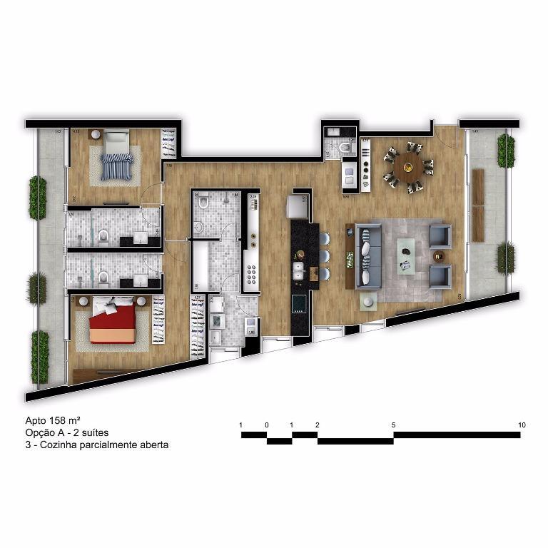 Planta Tipo Final 2B com Cozinha Parcialmente Aberta - 158 m²