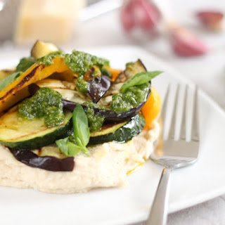 White Bean Mash With Griddled Vegetables And Pesto