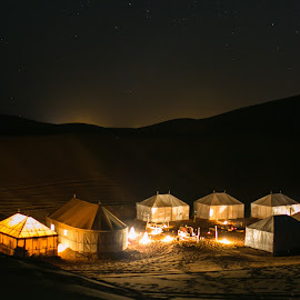 Tents in the Sabara desert by Natalia Dobrescu - City,  Street & Park  Night ( tent, discover, camping, africa, explore, canon eos, night, long exposure, camp, canon, sahara, dunes, luxury maktoub, luxury tents, morocco, desert, travel, lights, night photography, maroc,  )