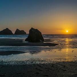 Holywell Bay Sunset  by Jolyon Vincent - Landscapes Beaches ( coast, cornwall, rocks, sunset, beach, landscape )