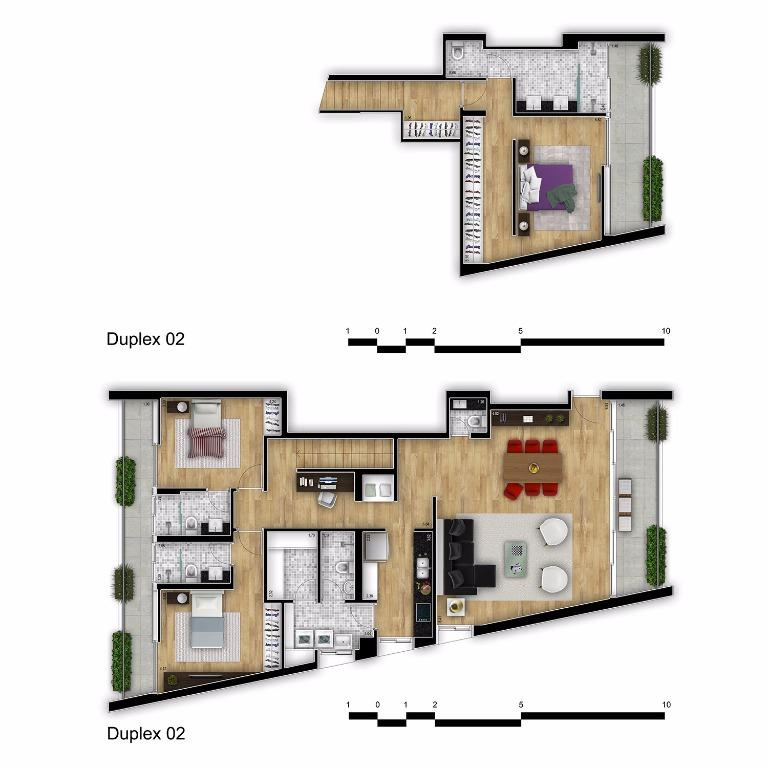 Planta Apto Duplex - 2º andar final 2 - 218 m²