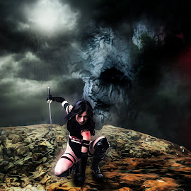 Messenger and the Watcher by Aritra Das - Illustration Sci Fi & Fantasy ( warrior, fantasy, surrealism, urnanabha, visual interface, digital art, digital paint, graphics, surreal, black cat, war )