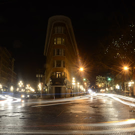 Gastown by Cory Bohnenkamp - City,  Street & Park  Historic Districts ( gastown, night, vancouver, rain, historic, roads, cobblestone, city )