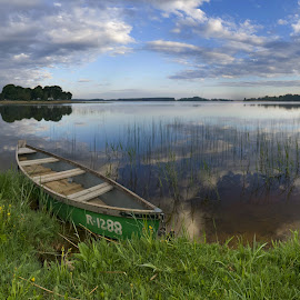 Morning by the lake by Eugenijus Rauduve - Transportation Boats ( clouds, lake, boat )