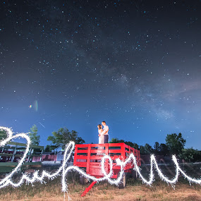 Under the Milky Way With Love by David Barone-Vu - Wedding Bride & Groom ( milkyway, wedding photography, sharp, one of a kind, nikkor, wagon, milky way, love, inthemoment, sky, wedding, nightsky, long exposure, bride and groom, nikon, redwagon,  )