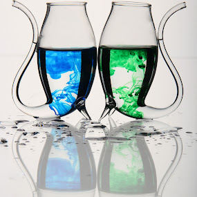 Brightfield Glass by Juli Paul - Artistic Objects Glass ( field, brightfield, drips, bright, colors, glass, food coloring )