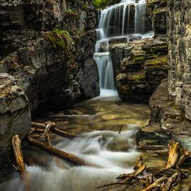 Baring Creek by Leon Kauffman - Landscapes Waterscapes ( water, montana, waterfall, long exposure, baring creek, glacier national park )