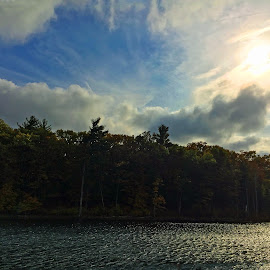 Sun in Clouds by Kristine Nicholas - Novices Only Landscapes ( clouds, water, lake, leaf, landscape, leaves, sun, tree, autumn, foliage, fall, landscape photography, cloudy, trees, pond, river )