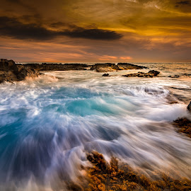 Incoming Tide by Jared Goodwin - Landscapes Sunsets & Sunrises ( sunrises, waterscape, rocky, landscape, sun, close, sky, sunrays, tide, cloudy, sunshine, long exposure, gold, slow speed, rocks, golden hour, clouds, water, cloudscape, sea, seascape, paradise, tidal, tides, sunset, cloud, sunrise, landscapes, longexposure, slow shutter, golden )