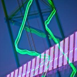 Nightrider by Lisa Rath - Abstract Light Painting ( ride, lights, amusement park, blue, carnival, green, twilight, pink, evening )