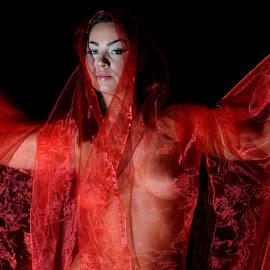 by DJ Cockburn - Nudes & Boudoir Artistic Nude ( red, off camera flash, woman, white, art nude )