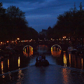 Twilight in Amsterdam ... What a Beautiful Scene ... by Maritha Graph - City,  Street & Park  Skylines ( twilight, amsterdam, amsterdamcanal, nederland, netherlands, holland, marithagraph, scene, beautiful, romantic )