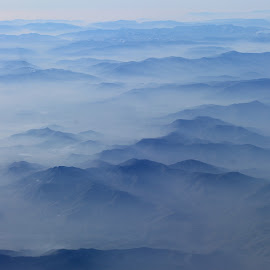Mountains Fog by Victor Sitaru - Landscapes Travel ( mountains, sky, blue, fog, airplane, high,  )