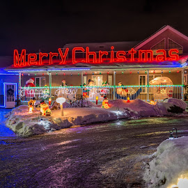 Christmas by Joseph Law - Public Holidays Christmas ( winter, lighting, driveway, snow, christmas lights, christmas, farmhouse, decorations )