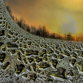 Baroque Sunset by Jerry Kambeitz - Nature Up Close Water ( orange, baroque, patterns, pattern, window, sunset, glass, frost )