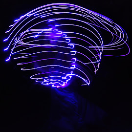 Light in the Dark by Savannah Eubanks - Abstract Light Painting ( purple, woman, night )